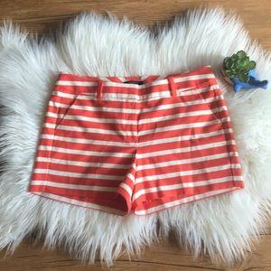 Ann Taylor Petites coral striped shorts